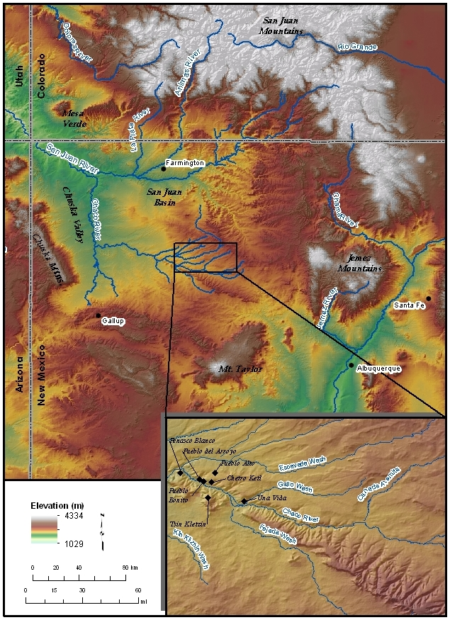 Location map showing ruins within Chaco Canyon, New Mexico